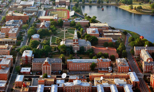 An overhead view of Howard University